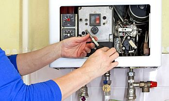a tankless water heater repair in progress