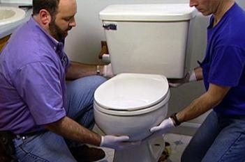 Jack and Peter are replacing a leaky toilet